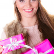 Woman holding many pink gift boxes — Stock Photo #58753167