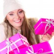 Woman holding many pink gift boxes — Stock Photo #58753173
