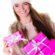Woman holding many pink gift boxes — Stock Photo #58753175