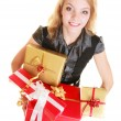 Woman with gift boxes smiling — Stock Photo #58839667