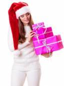 Donna con scatole regalo — Foto Stock
