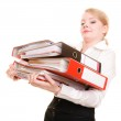 Businesswoman holding stack of folders — Stock Photo #59324277