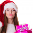 Woman holding pink gift boxes — Stock Photo #59887857