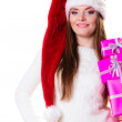 Woman holding pink gift boxes — Stock Photo #59918615