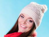 Woman in winter clothing smiling — Stock Photo
