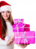 Woman holding pink gift boxes — Stock Photo