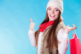 Woman howing thumb up — Stockfoto