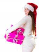 Woman holding  pink gift boxes — Foto de Stock