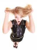 Woman screaming and pulling hair — Stock Photo