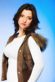Woman in casual waistcoat posing — Stock Photo
