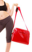 Girl holding red bag — Stock Photo
