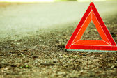 Red warning triangle sign — Stock Photo