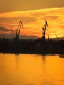 Big shipyard cranes — Stock Photo
