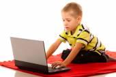 Little boy using laptop — Stock Photo