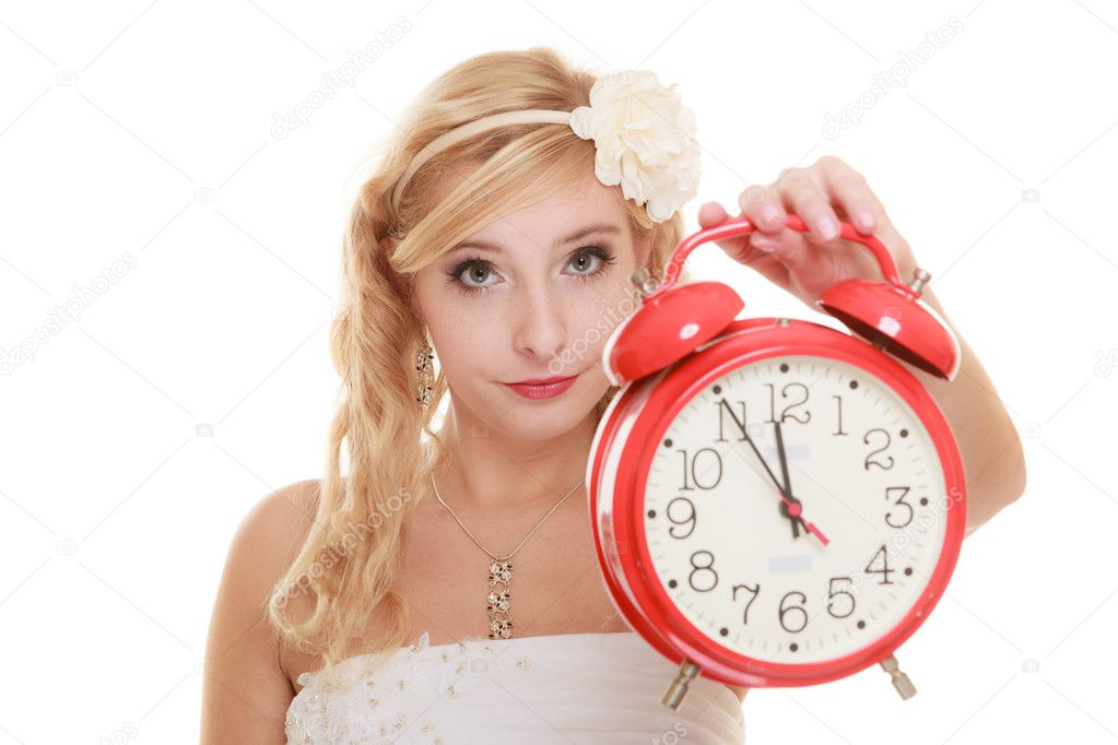 Bride with alarm clock. � Foto stock � Voyagerix #60289437
