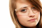 Laboratory. Chemist woman in goggles glasses isolated — Stock Photo