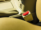 Interior modern car elements, close-up of seat belt — Stock Photo