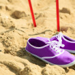Nordic walking. sticks and violet shoes on a sandy beach — Stock Photo #61006627