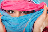 Woman with hiden face — Stock Photo