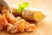 Root and candied ginger — Stock Photo