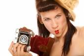 Teen girl holding old camera — Stock Photo