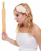 Angry bride argument conflict, bad relationships — Stock Photo