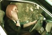Girl talking on mobile phone — Stock Photo