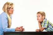 Mother talking with son. Children upbringing. — Stock Photo