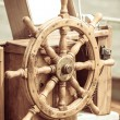 Yachting. Ship wooden steering wheel. Sailboat detail. — Stock Photo #66102507