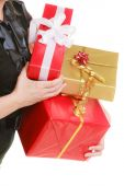 Girl holding gift boxes — Stock Photo
