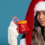 Winter girl holding red mug — Stock Photo #67192481