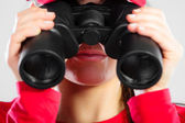 Lifeguard  looking through binocular — Stock Photo