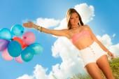 Palloncini azienda ragazza — Foto Stock