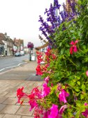 Flowers on street in England — Stock Photo