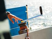Male hand on winch capstan — Stock Photo