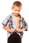 Little boy buttoning  shirt — Stock Photo