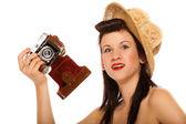 Mädchen im Jahrgang Kamera Hut — Stockfoto