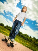 Skater  with his skateboard — Stock Photo