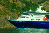 Tourism and travel. cruise ship on fjord in Norway. — Stock Photo