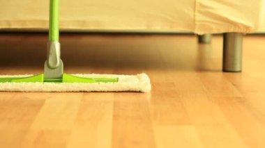 Mop on wooden floor — Wideo stockowe