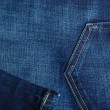 Closeup detail of blue denim pocket — Stock Photo #69865641