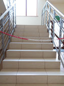 Entrance stairs closed with rope, no entry sign. — Stock Photo