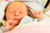 Newborn baby girl sleeping — Stock Photo