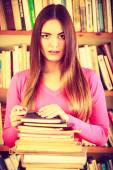 Student  with stack books — Stock Photo