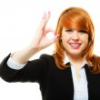 Businesswoman showing ok sign — Stock Photo #70745953