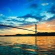 Sunset over suspension bridge in Bergen, Norway — Stock Photo #71459909