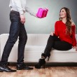 Man giving his girlfriend gitft box — Stock Photo #71666997
