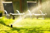 Gardening. Lawn sprinkler spraying water over grass. — Stock Photo