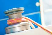 Winch capstan with rope on sailing boat. — Stock Photo