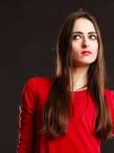 Mujer atractiva en rojo. — Foto de Stock